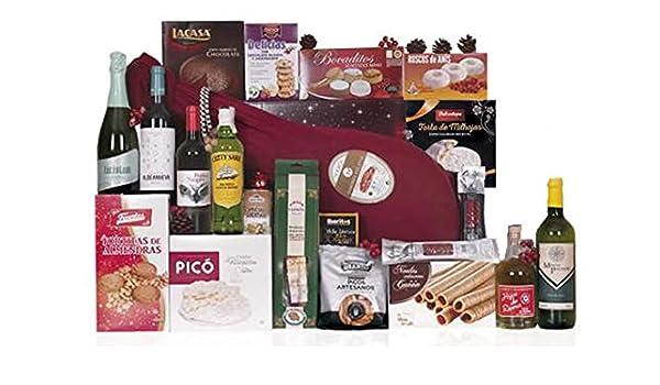 Lote de navidad con embutidos ibéricos de bellota y jamón serrano de bodega, botella de whisky, licor de hierbas, cava y vinos, surtido extra de turrones y ...
