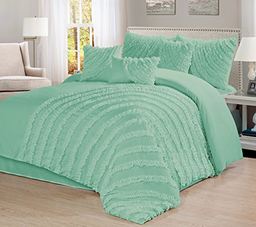 7 Piece Hillary Bed in a Bag Comforter Sets- Queen King Cal.KingSize (Queen, Lake Green)