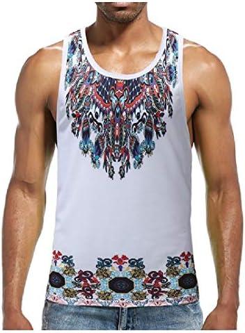 Men's Sleeveless Printing Tribal Crew-Neck Thin Loose Tank Top Shirts