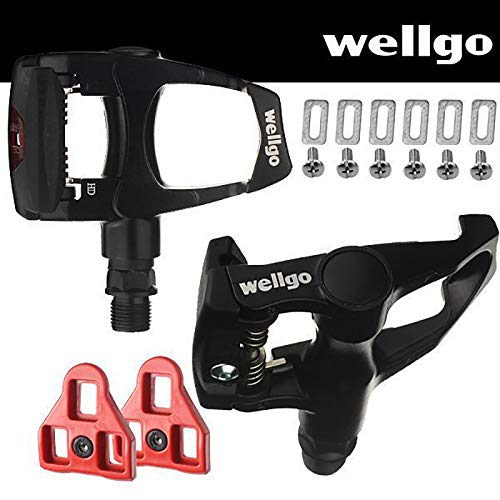 Wellgo Bike Look Delta (9 Degree Float) Compatible - Indoor Cycling & Road Bike Bicycle Pedal Set Black ()