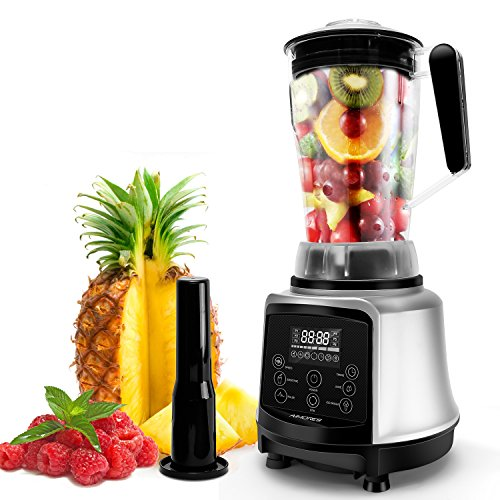 AIMORES Commercial Blender, Pre-Programmed for Smoothie, Juice, Ice Cream, Auto Shutoff Speed | Timing | Stir | Pulse Setting, 8 Blades, 75oz Tritan Pitcher, w/ Recipe | ETL & FDA Certified (Silver)