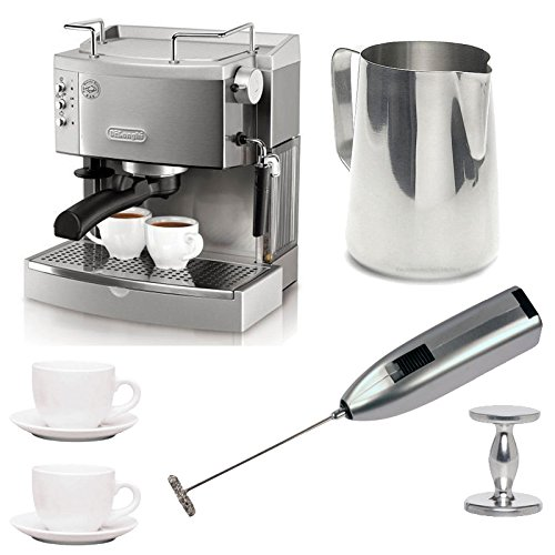 DeLonghi EC702 15-Bar-Pump Espresso Maker with Espresso Tamper, Frothing Pitcher, Two 3 oz Ceramic Tiara Espresso Cups and Saucers, and Knox Milk Frother