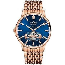 Edox Men's 85021 37RM BUIR Les Bemonts Analog Display Swiss Automatic Rose Gold Watch