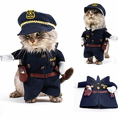 Pet Costume Dog Cat Pet Halloween Costume Unique Pet Fashion Outfits Clothing For Small Dogs And Cats (Police, L)