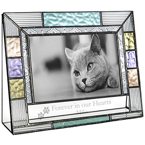 J Devlin Pic 391-46H EP599 Personalized Picture Frame Pet Memorial Colorful Stained Glass Engraved 4x6 Horizontal Photo Frame for Cat or ()