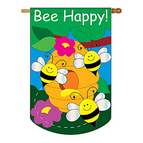 Two Group - Bee Happy Garden Friends - Everyday Bugs & Frogs Applique Decorative Vertical House Flag 28