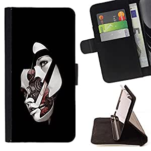 DEVIL CASE - FOR HTC One M8 - Face Off Robot Girl - Style PU Leather Case Wallet Flip Stand Flap Closure Cover