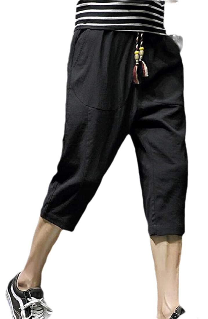 desolateness Mens Loose Linen Capri Pants Elastic Waist Drawstring Shorts