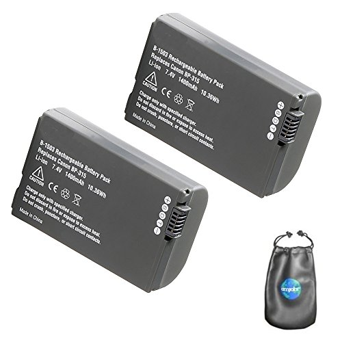 ValuePack (2 Count): Digital Replacement Camera and Camcorder Battery for Canon BP-315, BP-308, BP-308B - Includes Lens Pouch ()