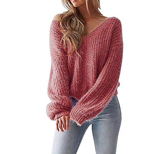 UONQD Sexy Women V-Neck Sweater Leak Back Knitted Loose Long Sleeve Pullover(X-Large,Red) ()