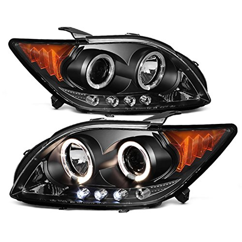 For Scion tC ANT10 Black Bezel Dual Halo Projector LED Headlights Replacement Left/Passenger Lamps Pair