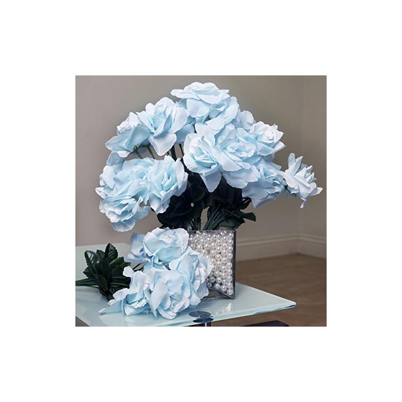 silk flower arrangements balsacircle 84 light blue silk open roses - 12 bushes - artificial flowers wedding party centerpieces arrangements bouquets supplies