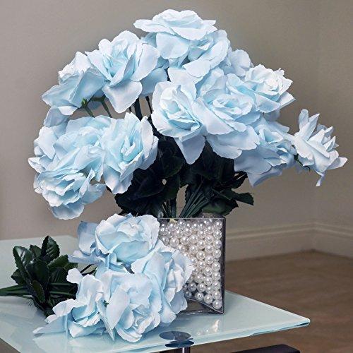 (BalsaCircle 84 Light Blue Silk Open Roses - 12 Bushes - Artificial Flowers Wedding Party Centerpieces Arrangements Bouquets Supplies)