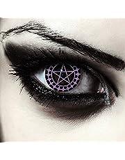 """Designlenses, twee zwart gekleurde halloween carnaval kostuum contact lenzen met pentagram patroon, zonder Dioptrieën, gratis lenshouder""""Ciel"""""""