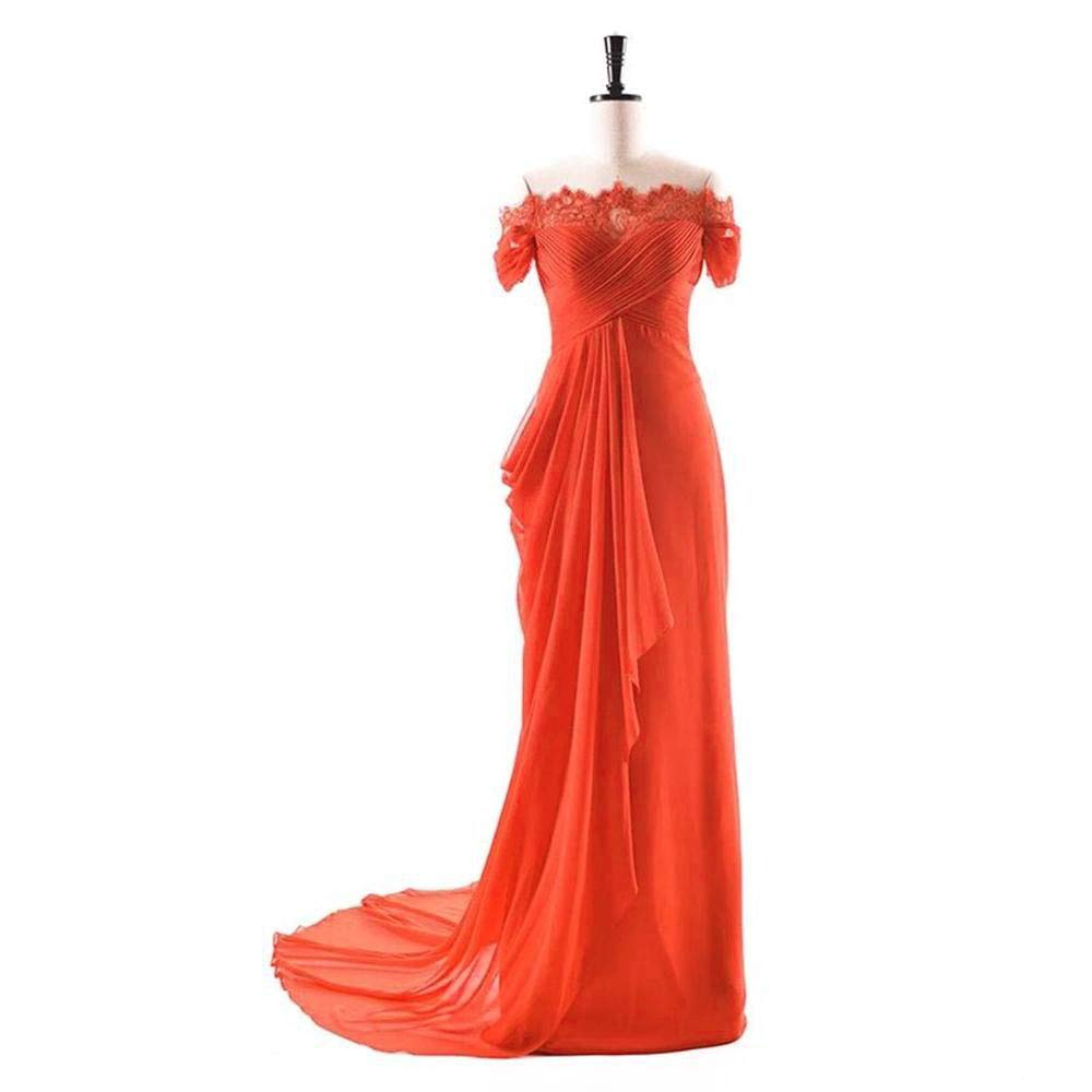 orange Dydsz Women's Evening Party Dresses Mermaid Long Prom Dress Off Shoulder Lace D275