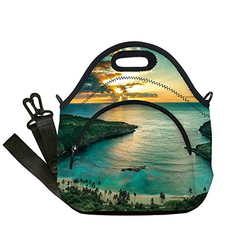 Insulated Lunch Bag,Neoprene Lunch Tote Bags,Hawaiian Decorations,Sunrise over Hanauma Bay on Oahu Hawaii Sunbeams Through Dark Clouds Shoreline,for Adults and children