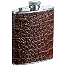 Visol Crocodile Leather Liquor Flask, 6-Ounce, Bronze