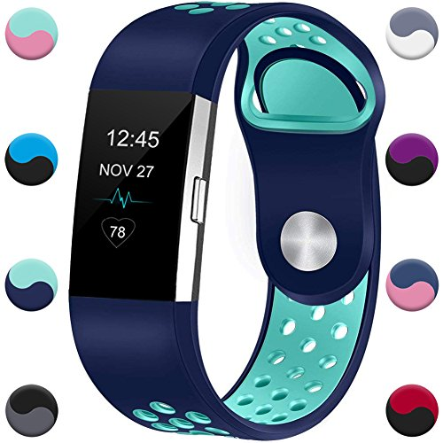 GEAK Fitbit Charge 2 Band,Sports Breathable Replacement Accessory for Fit bit Charge2,Small,Blue with teal