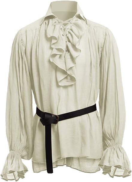 Herren Mittelalter Piratenhemd Langarm Schn/ürhemd Gothic Steampunk Viktorianisch Cosplay Freizeithemd Karneval Retro Kost/üm Shirt Bluse Tops