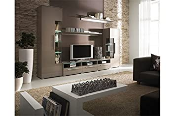 Meuble Tv Design Mural Noa Taupe Amazonfr Cuisine Maison