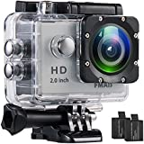FMAIS Action Camera 2.0 Inch LCD Full HD 1080P Camcorder Underwater 30m/98ft Waterproof Sports Camera with 2 Rechargeable Batteries and Mounting Accessories Kit (Silver)