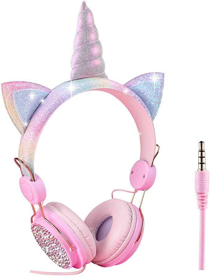 Auriculares para niños con diseño de Unicornio sobre la Oreja, Cable de Audio de 3,5 mm, 85 dB, Volumen Limitado