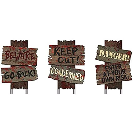 Amscan Creepy Cemetery Halloween Party Assorted Warning Sign Decoration 3 Pieces Made From Plastic