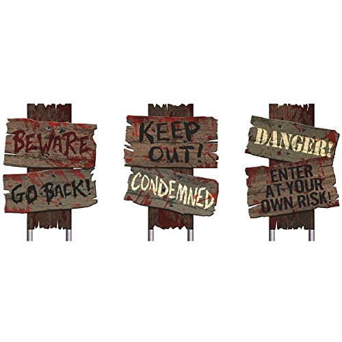 Amscan Creepy Cemetery Halloween Party Assorted Warning Sign Decoration, 3 Pieces, Made from Plastic, Wooden Color, 12