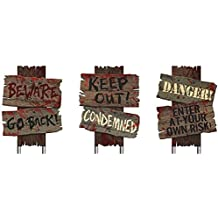 "Creepy Cemetery Halloween Party Assorted Warning Sign Decoration, 3 Pieces, Made from Plastic, Wooden Color, 12"" x 9"" each by Amscan"