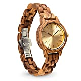 Emolly Womens Zebra Wood Watch - Gift Ready in a Beautiful Wooden Box - Champagne Dial Contrasted with Wood for a Unique Look That Gets Noticed - Softer on Skin Than Metal - For Teens and Adults