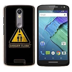 EJOOY---Cubierta de la caja de protección para la piel dura ** Motorola Moto X3 3rd Generation ** --Señal de advertencia