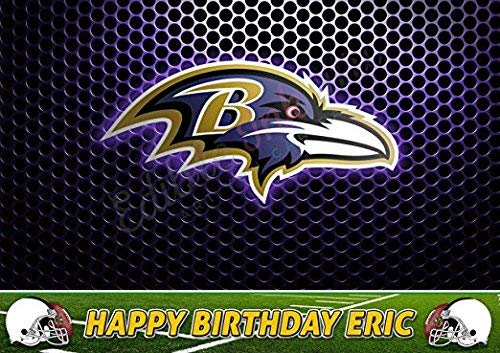 Baltimore Ravens NFL Edible Cake Topper Personalized Birthday 1/2 Size Sheet Decoration Party Birthday Sugar Frosting Transfer Fondant Image (Ravens Sugar Baltimore)