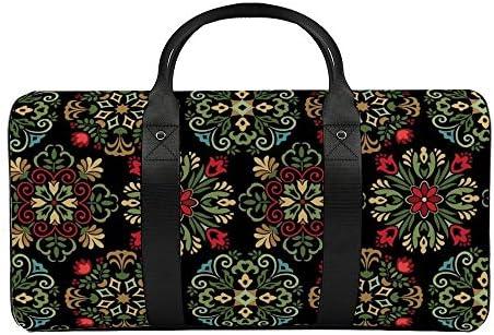 メダリオンブラック1 旅行バッグナイロンハンドバッグ大容量軽量多機能荷物ポーチフィットネスバッグユニセックス旅行ビジネス通勤旅行スーツケースポーチ収納バッグ