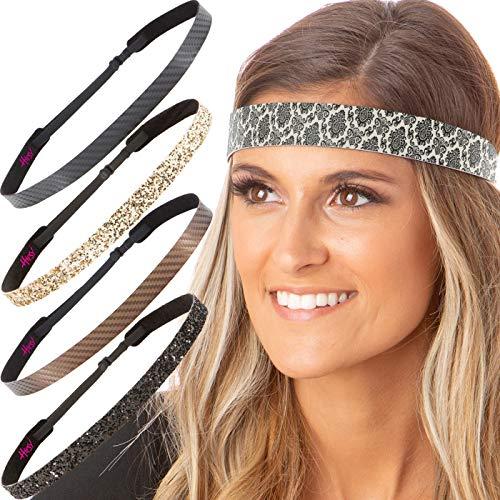 Hipsy Cute Fashion Adjustable No Slip Hairband Headbands for Women Girls & Teens (5pk Tan/Black/Brown/Gold/Black)