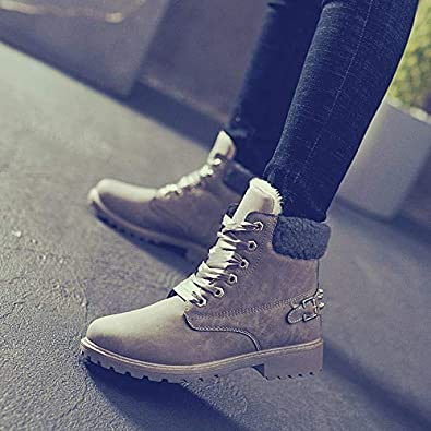 Vitalo Womens Faux Fur Lined Warm Winter Lace up Flat Ankle Chukka Boots