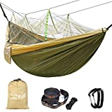 Double Camping Hammock With Mosquito Net EZfull - 660LBS Bearing Portable Outdoor Hammocks,10ft Hammock Tree Straps & 12KN Carabiners For Backpacking Camping Travel Beach Yard. 118''(L) x 78''(W)