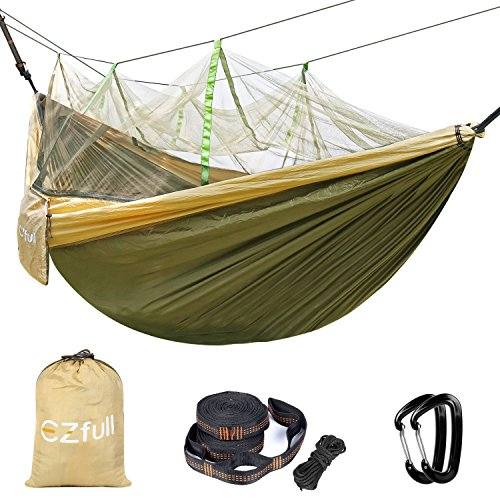 Double Camping Hammock With Mosquito Net EZfull - 660LBS Bearing Portable Outdoor Hammocks,10ft Hammock Tree Straps & 12KN Carabiners For Backpacking Camping Travel Beach Yard. 118'(L) x 78'(W)