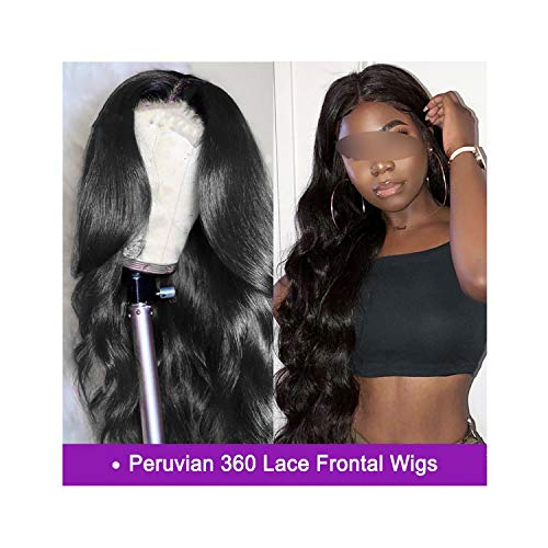 Peruvian Body Wave 360 Lace Frontal Wigs 250% Density Pre Plucked Human Hair Wigs With Baby Hair Full Ends Remy Hair,10inches,130%