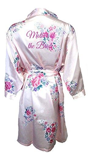 (Women's Pink Floral Satin Bridal Vinyl Print Robe Mother of The Bride 3X/4X 28-32)