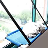 Lightton Cat Window Perches,cat hammock Pet Save Space,Mounted Cat Bed Sunny Seat Window Safety Cat Bed with 4 Heavy Duty Suction Cups 30 Lbs,One Year Guarantee (Blue B)