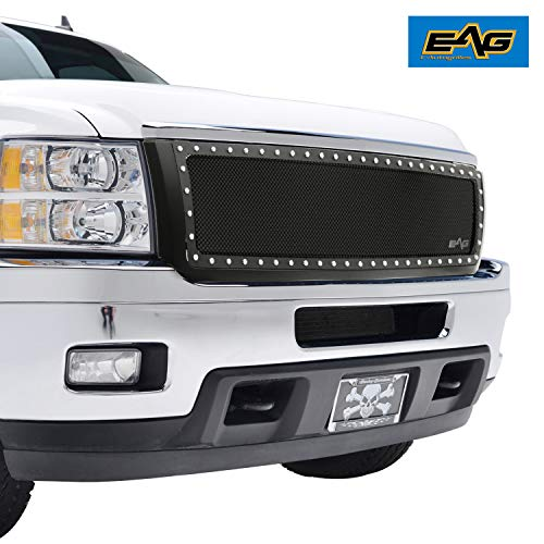 EAG Rivet Stainless Steel Wire Mesh Grill W/Shell Grille for 11-14 Chevy Silverado 2500/3500 ()