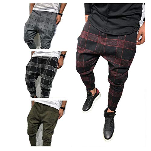 Mens Casual Elastic Waist Plaid Pants Cotton Hiphop Dance Jogger Fitness Sweatpants Trousers (Red, XL) ()