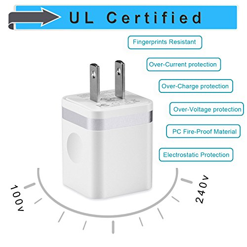 LEEKOTECH USB Wall Charger, [UL Certified] 3-Pack 2.1A USB Plug Dual Port Power Adapter Charging Block Cube for iPhone X 8 7 6 Plus 4 5S, iPad, Samsung Galaxy S5 S6 S7 Edge, Android Cell Phone by LEEKOTECH (Image #2)