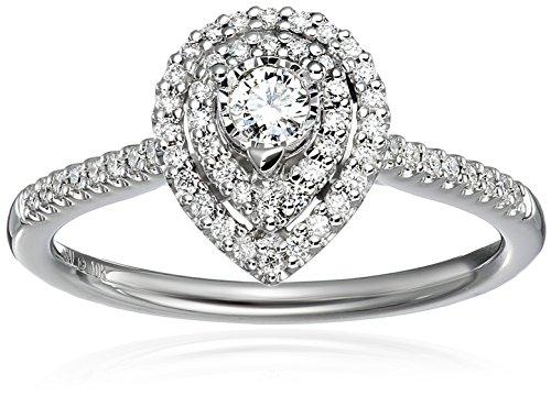 10k White Gold Diamond Double Framed Pear Shaped Engageme...