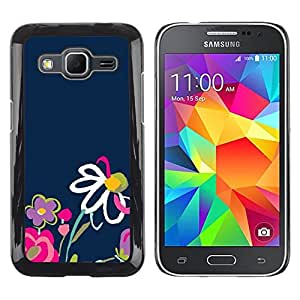 LECELL--Funda protectora / Cubierta / Piel For Samsung Galaxy Core Prime SM-G360 -- Spring Navy Blue Pink Daisy Nature --