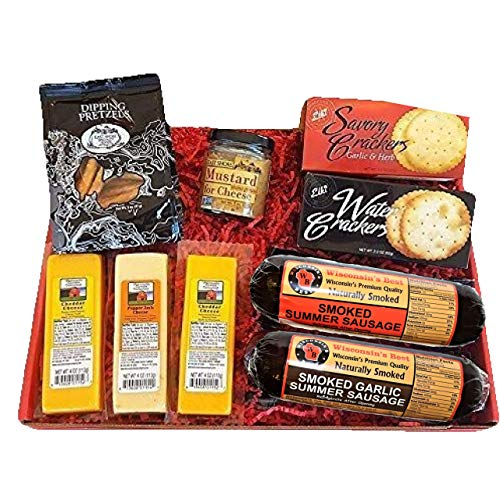 Deluxe Men's Gourmet Gift Basket- features Smoked Summer Sausages, 100% Wisconsin Cheeses, Crackers, Pretzels & Mustard | Great for Parties!