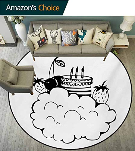 RUGSMAT Sweet Dreams Round Area Rugs,Doodle Style Birthday Cake with Berry Fruits On A Cloud Monochrome Design Super Soft Living Room Bedroom Home Shaggy Carpet,Diameter-35 Inch Black and White