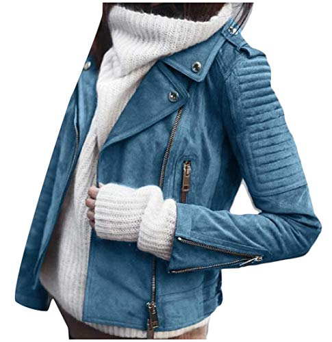 Collar Jacket Womens Turn Blue Light Up Sleeve Solid Light Long Slim Zip XINHEO Down 1tPdqOww