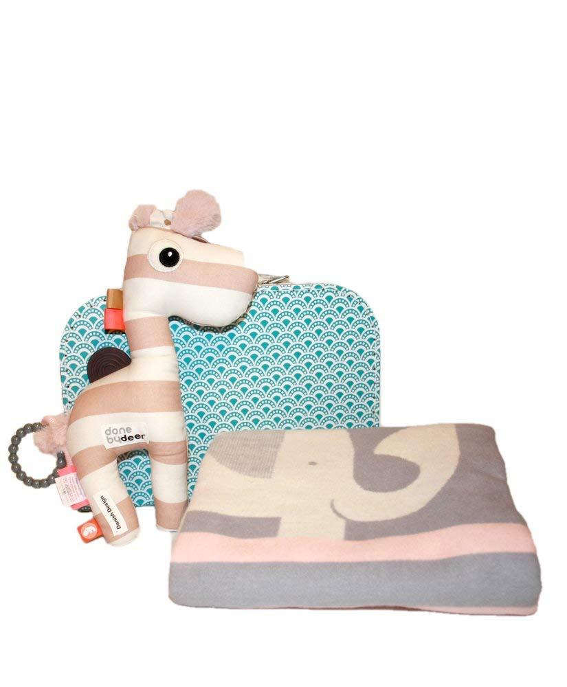 Taufe Baby Geschenk Done by Deer Activity Spielzeug Geschenk zu Geburt Koffer Raffi /& Lena f/ür M/ädchen mit Fussenegger Decke