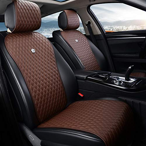 Brown Universal Seat Covers Leather Seat Cushions 2/3 Covered 11PCS Luxury Seat...